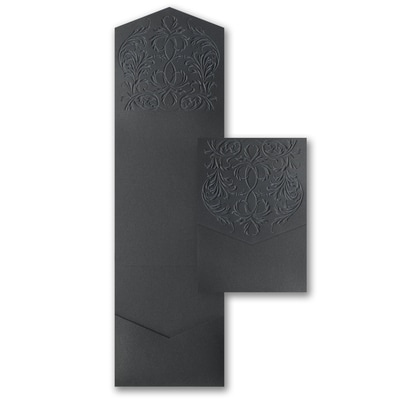 Black Shimmer Embossed Flourish Jumbo Pocket