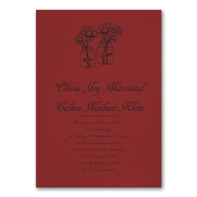 Country Daisies - Invitation - Claret