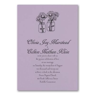 Country Daisies - Invitation - Lavender