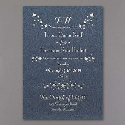 Enchanted Evening Invitation - Navy Shimmer
