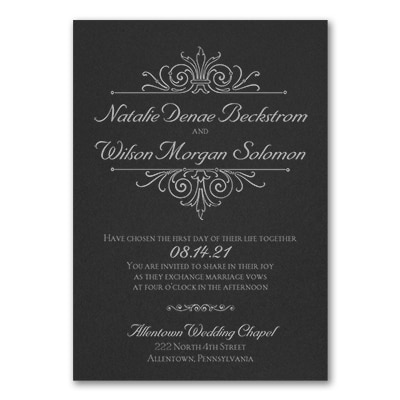 Regal Crest - Invitation - Black