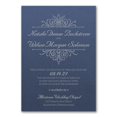Regal Crest Invitation - Sapphire Shimmer