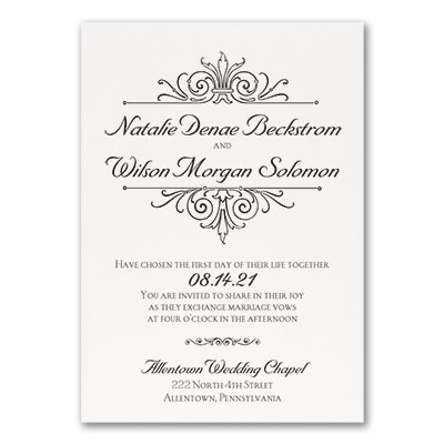 Regal Crest - Invitation - White
