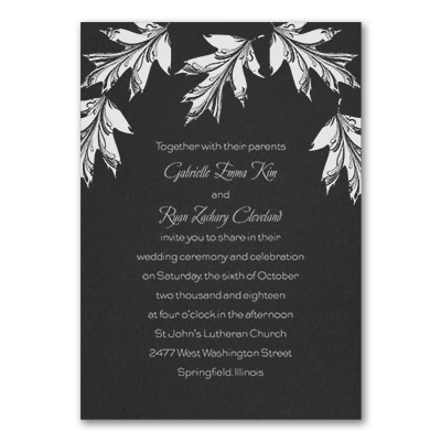 Leaf it to Romance - Invitation - Black