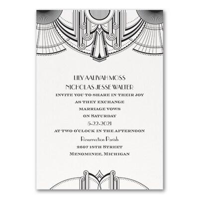 Deco Glamour - Invitation - White