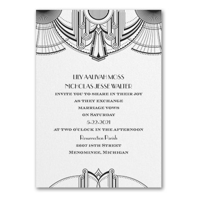 Deco Glamour - Invitation - White Shimmer