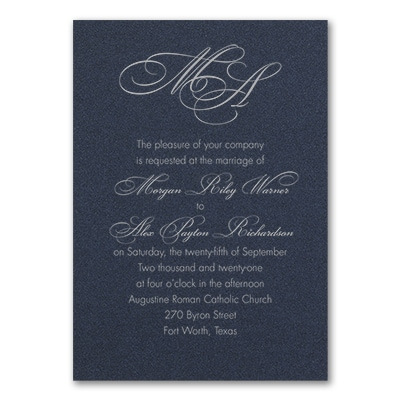 French Expressions - Invitation - Navy Shimmer