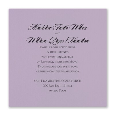 Serene Love - Invitation - Lavender