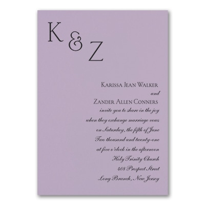 Sophistication - Invitation - Lavender
