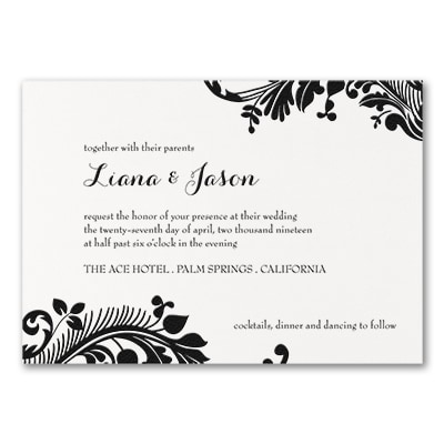 Damask Scroll - Invitation - White