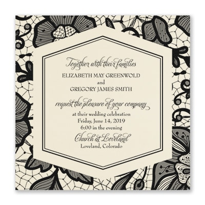 Lace Floral - Invitation - Ecru