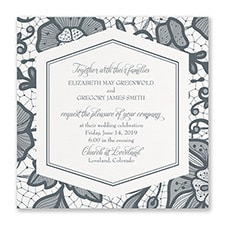 Lace Floral - Invitation - White