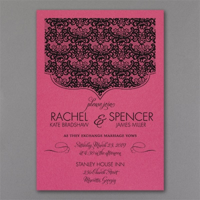Lace Crest - Invitation - Fuchsia