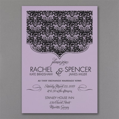 Lace Crest - Invitation - Lavender