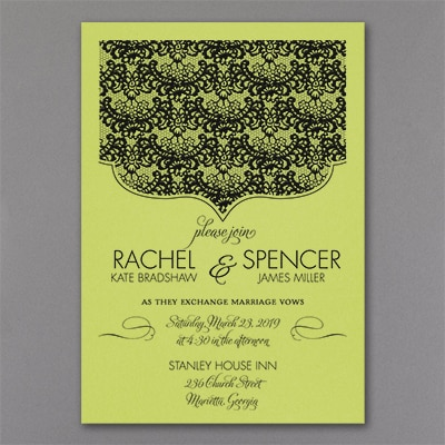Lace Crest Invitation Granny Apple Wedding Invitations