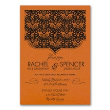 Lace Crest - Invitation - Orange Shimmer
