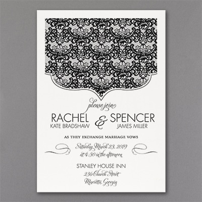 Lace Crest - Invitation - White