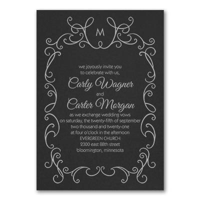 whimsical scrolls invitation black wedding invitations