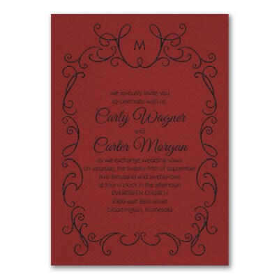 Whimsical Scrolls - Invitation - Claret