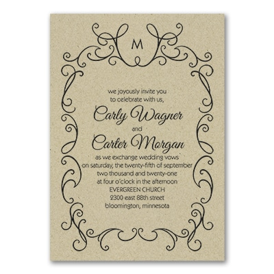 Whimsical Scrolls Invitation Kraft Wedding Invitations