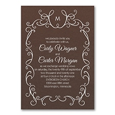 Whimsical Scrolls - Invitation - Mocha Shimmer