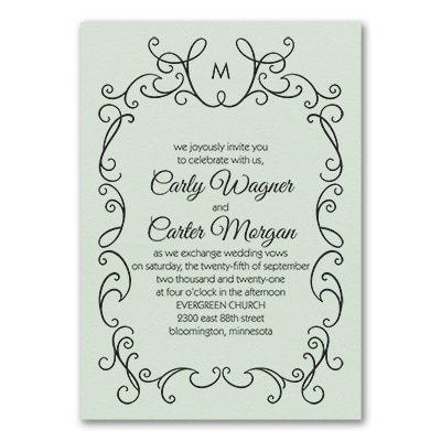 whimsical scrolls invitation mint shimmer wedding invitations