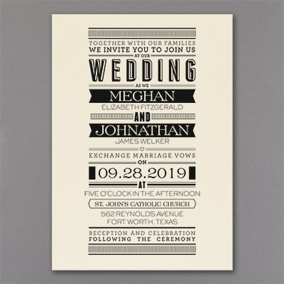 Typography Banner Invitation Ecru Wedding Invitations