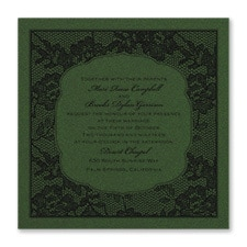 Lace Flowers - Invitation - Green Shimmer