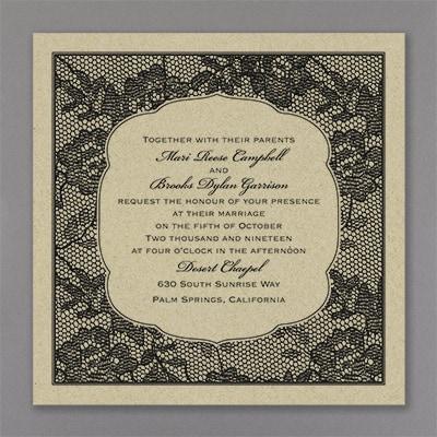 Lace Flowers - Invitation - Kraft