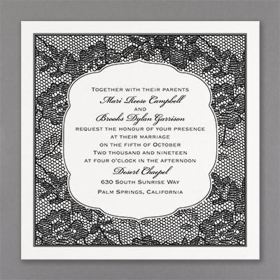 Lace Flowers - Invitation - White