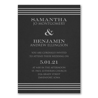 Clean Stripes Invitation - Black
