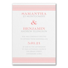 Clean Stripes Invitation - White Shimmer