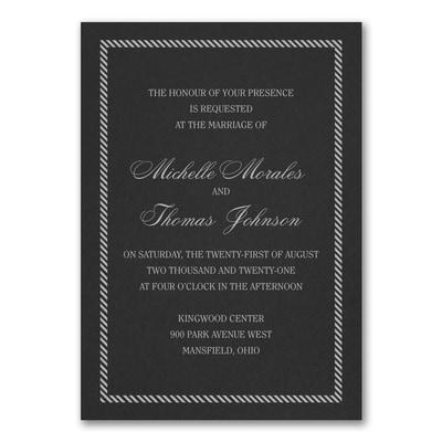 Border and Stripes Invitation - Black