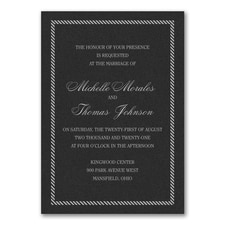 Border and Stripes Invitation - Black Shimmer