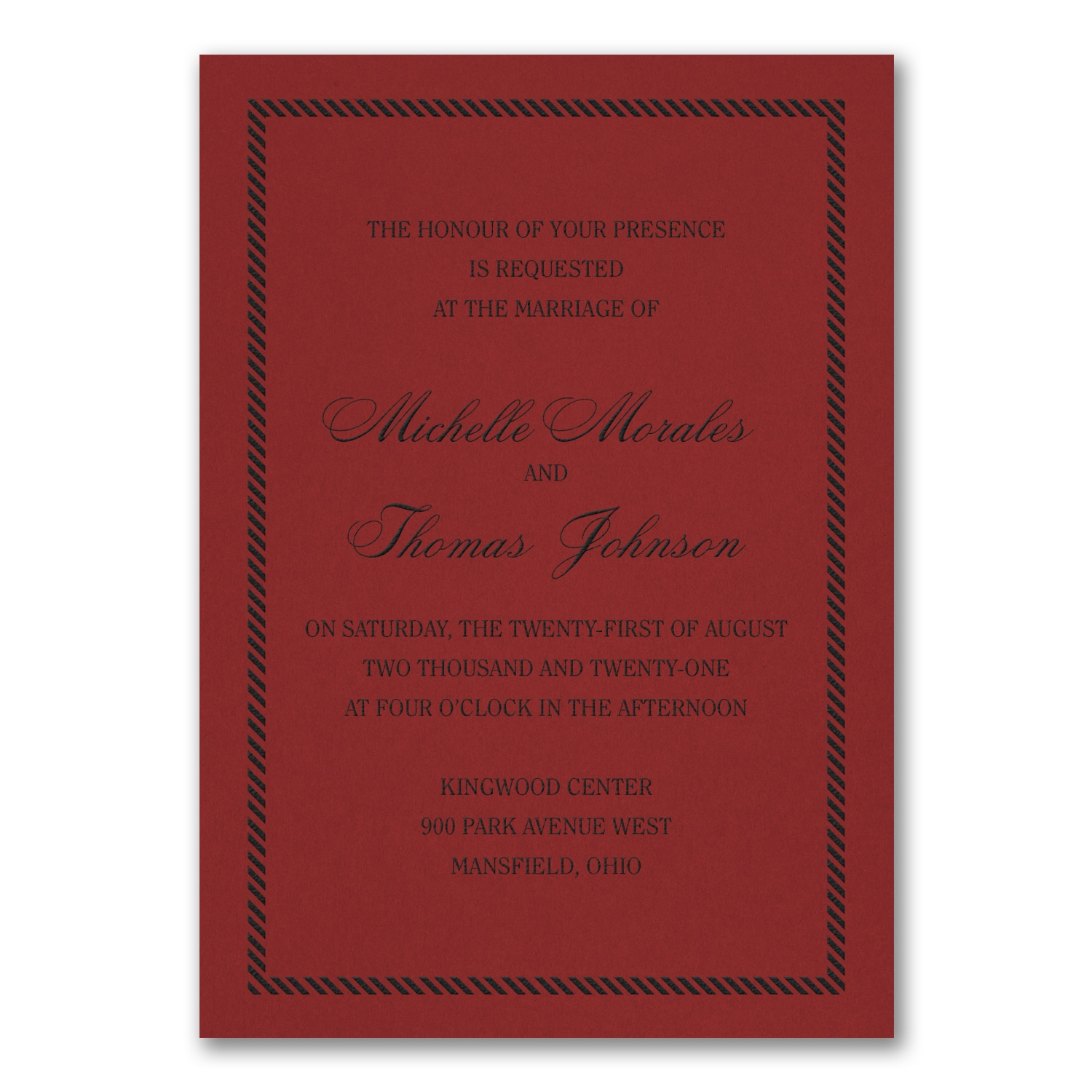 Border and Stripes Invitation - Claret > Shop All Wedding ...