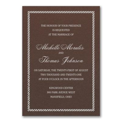Border and Stripes Invitation - Mocha Shimmer