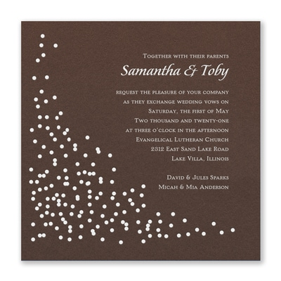 Celebration Dots Invitation - Mocha Shimmer