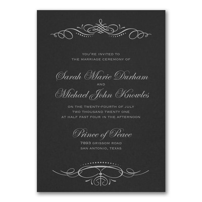 Beautiful Crest Invitation - Black