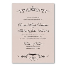 Beautiful Crest Invitation - Pastel Coral Shimmer