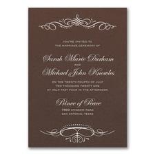 Beautiful Crest Invitation - Mocha Shimmer