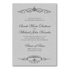 Beautiful Crest Invitation - Silver Shimmer
