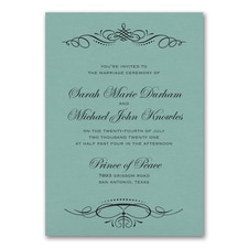 Beautiful Crest Invitation - Lagoon Shimmer