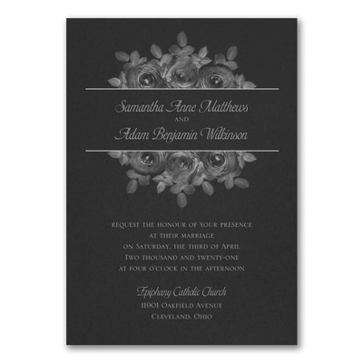 Enchanting Roses Invitation - Black