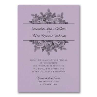 Enchanting Roses Invitation - Lavender