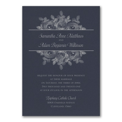 Enchanting Roses Invitation - Navy