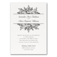 Enchanting Roses Invitation - White