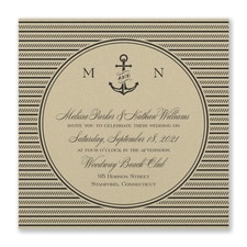 Nautical Love Invitation - Gold Shimmer