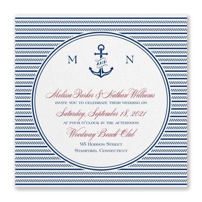 Nautical Love Invitation - White Shimmer