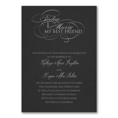 Married Today Invitation - Black