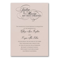 Married Today Invitation - Pastel Coral Shimmer